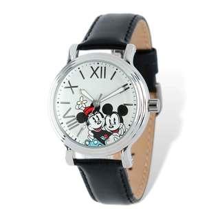 Disney Stainless Steel Women's Mickey & Minnie Design Black Leather Watch