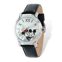 Disney Stainless Steel Women's Mickey & Minnie Design Black Leather Watch