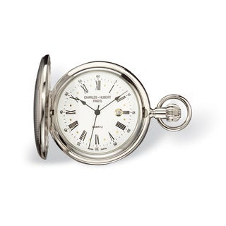 Charles Hubert Chrome Finish Brass Striped Pocket Watch