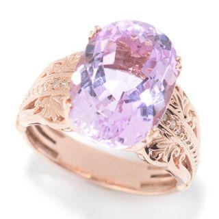 Michael Valitutti 14K Rose Gold Kunzite & Diamond Ring