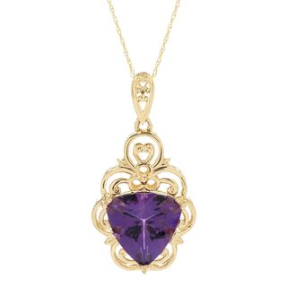 Michael Valitutti 14K Gold Trillion Shaped Congo Amethyst Necklace