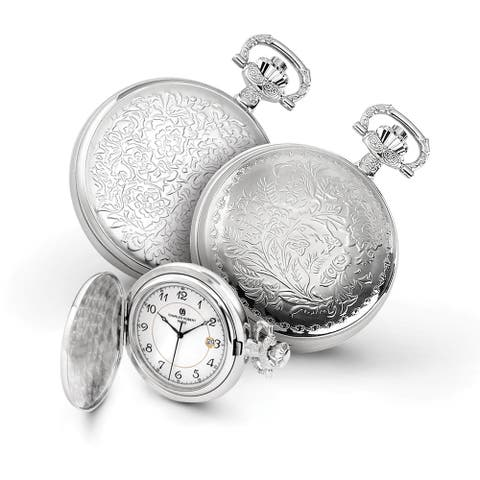 Charles Hubert Chrome Finish Floral Design Pocket Watch with 14.5-inch Curb Chain and Belt Clip - Silver
