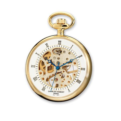 Charles Hubert Gold Finish Acrylic Crystal Brass Open Face Pocket Watch
