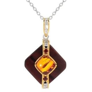 Michael Valitutti Palladium Silver Tiger's Eye, Amber & Garnet Diamond Shaped Pendant w/ 18 Chain and 2 Ext