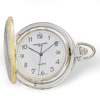 Charles Hubert Gold Finish Two-tone White Dial Pocket Watch