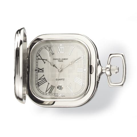 Charles Hubert Gold-plated Two-tone Chrome Square Pocket Watch by Versil