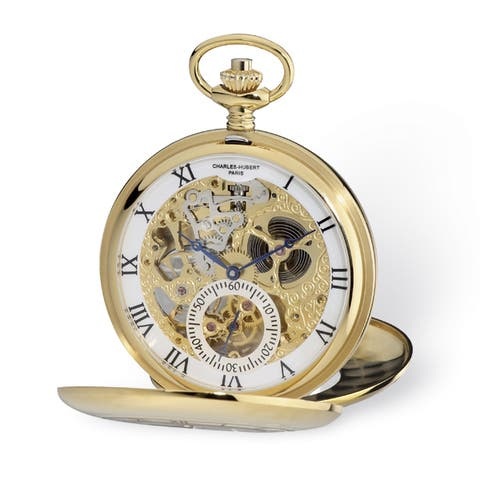 Charles Hubert Yellow IP-plated Open Heart 53mm Case Pocket Watch - Gold