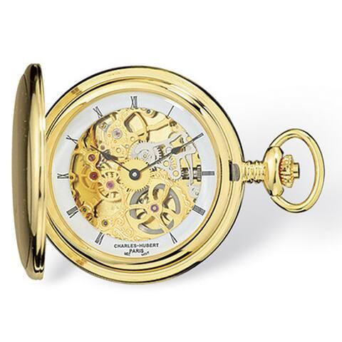 Charles Hubert IP-plated Stainless Steel Skeleton Dial Pocket Belt Clip Watch - Gold
