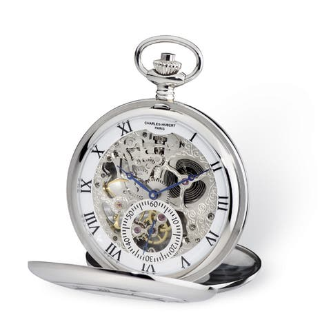 Charles Hubert Open Heart Dial 53mm Case Pocket Watch by Versil - Silver
