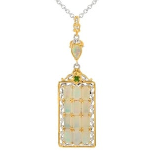 Michael Valitutti Palladium Silver Ethiopian Opal & Chrome Diopside Dog Tag Pendant w/ 18 Cable Chain and 2 Ext