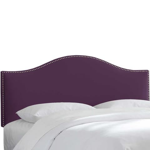 Skyline Furniture Custom Nailhead Trim Curved Velvet Headboard