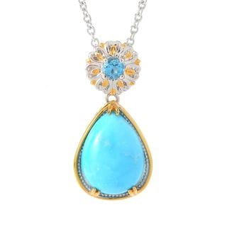 Michael Valitutti Palladium Silver Kingman Turquoise & Swiss Blue Topaz Pendant w/ 18 Chain and 2 Ext