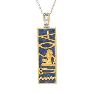 Michael Valitutti Palladium Silver Lapis Hieroglyphic Pendant w/ 18 Chain and 2 Ext