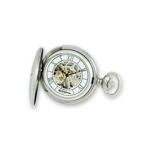 Swingtime Stainless Steel Polished Mechanical Pocket Watch by Versil - White