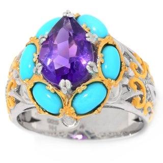 Michael Valitutti Palladium Silver African Amethyst & Sleeping Beauty Turquoise Ring
