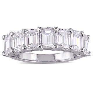 Miadora Signature Collection 18k White Gold 3 1/3ct TDW Certified Emerald-Cut Diamond Anniversary Band (F-G, VSI1-VVSI2)(IGI)