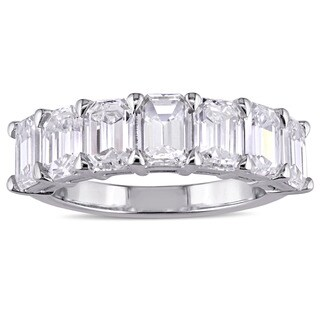 Miadora Signature Collection 18k White Gold 3 1/3ct TDW Certified Emerald-Cut Diamond Anniversary Ba