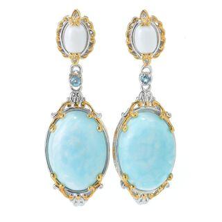 Michael Valitutti Palladium Silver Larimar, White Bamboo Coral & Swiss Blue Topaz Dangle Earrings