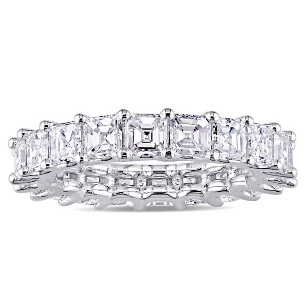 Miadora Signature Collection 18k White Gold 4 1/10ct TDW Asscher-Cut Diamond Eternity Ring