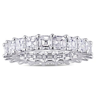 Miadora Signature Collection 18k White Gold 4 1/10ct TDW Asscher-Cut Diamond Eternity Ring