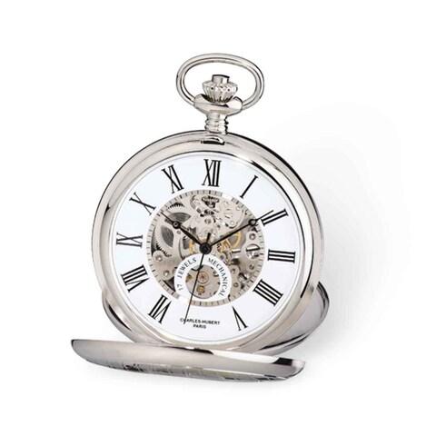 Charles Hubert White Skeleton Dial 53mm Pocket Watch