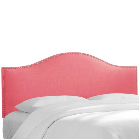 Custom Nailhead Trim Linen Upholstered Headboard- Skyline Furniture