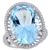 Miadora Signature Collection 14k White Gold Sky Blue Topaz and 2/5ct TDW Diamond Halo Cocktail Ring