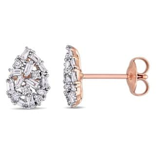Miadora 14k White Gold 1/4ct TDW Round and Tapered Baguette-Cut Diamond Cluster Teardrop Stud Earrings (G-H, I1-I2)|https://ak1.ostkcdn.com/images/products/13950605/P20580373.jpg?impolicy=medium