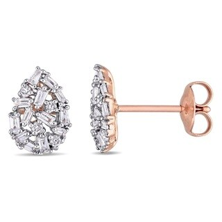 Miadora 14k White Gold 1/4ct TDW Round and Tapered Baguette-Cut Diamond Cluster Teardrop Stud Earrings (G-H, I1-I2)