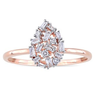 Miadora 14k Rose Gold 1/4ct TDW Round and Tapered Baguette Diamond Cluster Mosaic Ring