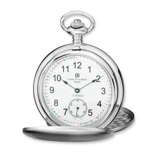Versil Charles Hubert Stainless Steel White Dial Pocket Watch