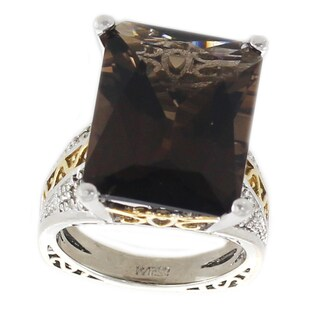 One-of-a-kind Michael Valitutti Palladium Silver Emerald Cut Smoky Quartz and White Sapphire Ring
