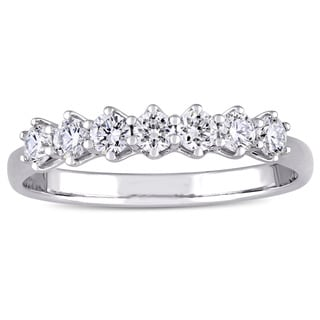 Miadora Signature Collection 18k White Gold 1/2ct TDW Diamond 7-Stone Semi-Eternity Anniversary Ring (G-H, SI1-SI2)