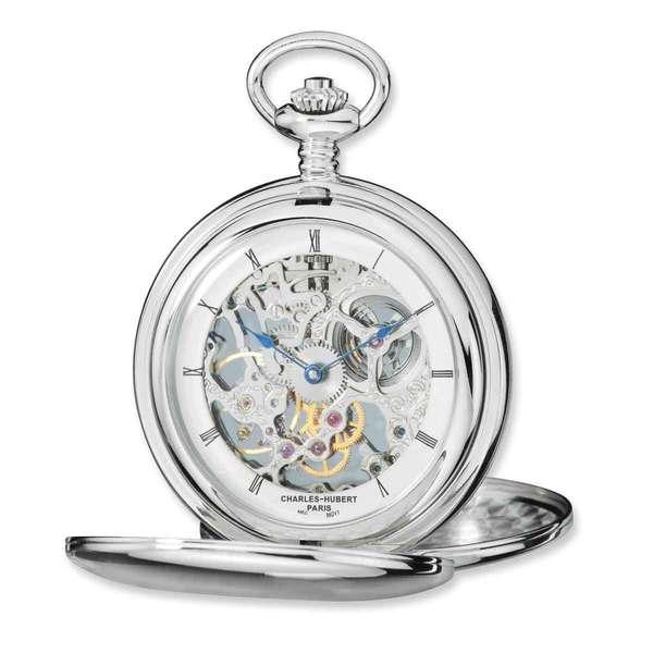 Versil Charles Hubert Stainless Steel Skeleton Dial Pocket Watch