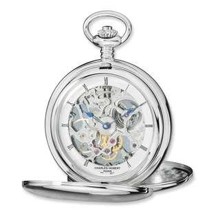 Charles Hubert Stainless Steel Skeleton Dial Pocket Watch