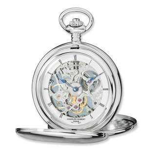 Charles Hubert Stainless Steel Skeleton Dial Pocket Watch