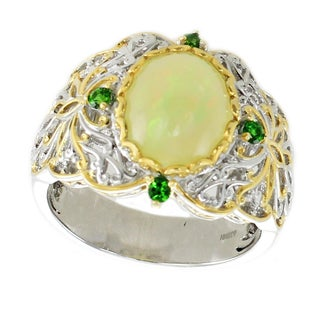 One-of-a-kind Michael Valitutti Palladium Silver Ethiopian Opal & Chrome Diopside Ring (Option: 10)
