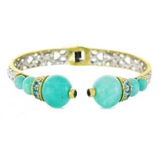 One-of-a-kind Michael Valitutti Palladium Silver Amazonite and Swiss Blue Topaz Hinged Cuff Bracelet