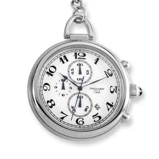 Charles Hubert Solid Stainless Steel White Dial Pocket Watch|https://ak1.ostkcdn.com/images/products/13950647/P20580421.jpg?impolicy=medium
