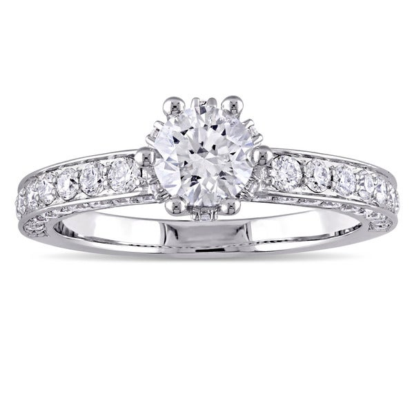 laura ashley 1 12 ct tw diamond crown engagement ring in 14k white gold - Crown Wedding Rings