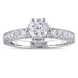 Laura Ashley 1 1/2 CT TW Diamond Crown Engagement Ring in 14k White Gold