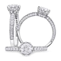 Laura Ashley 1 1/4 CT TW Diamond Floral Engagement Ring in 14k White Gold