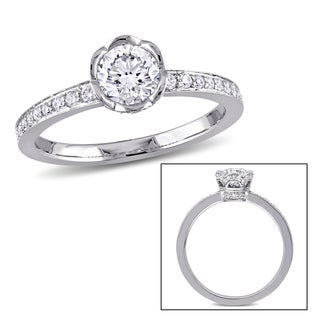Laura Ashley 1 CT TW Diamond Floral Engagement Ring in 14k White Gold