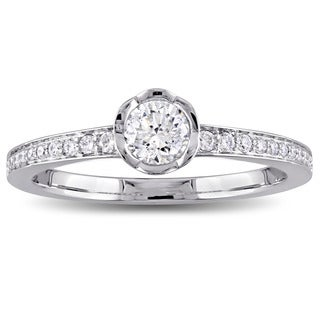 Laura Ashley 1/2 CT TW Diamond Floral Engagement Ring in 14k White Gold