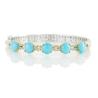 One-of-a-kind Michael Valitutti Palladium Silver Sleeping Beauty Turquoise Five Stone Bangle Bracelet