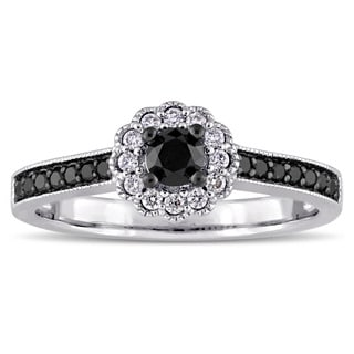 Miadora 14k White Gold with Black Rhodium Plating 1/2ct TDW Black and White Diamond Floral Halo Engagement Ring (G-H, I2-I3)