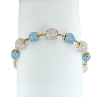 One-of-a-kind Michael Valitutti Palladium Silver Rose and Dyed Blue Quartz Bracelet with extension clasp