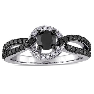Miadora 14k White Gold with Black Rhodium Plating 1ct TDW Black White Diamond Halo Interlaced Engagement Ring (G-H, I2-I3)
