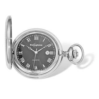 Swingtime Stainless Steel Black Dial Quartz 48mm Pocket Watch