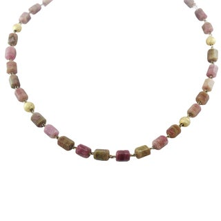 One-of-a-kind Michael Valitutti Palladium Silver Hexagon Multi Pink Tourmaline and Gold Bead Necklace